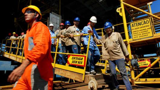 Rig workers take a break on a Petrobras oil platform in Angra dos Reis, Rio de Janeiro, Brazil.