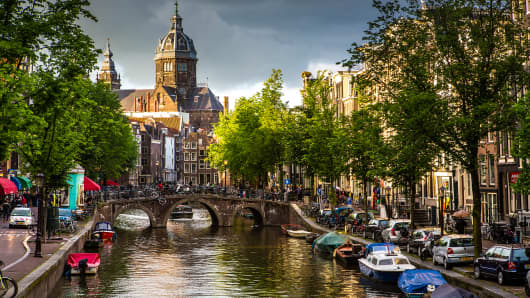 Church of St Nicholas and canal in Amsterdam.