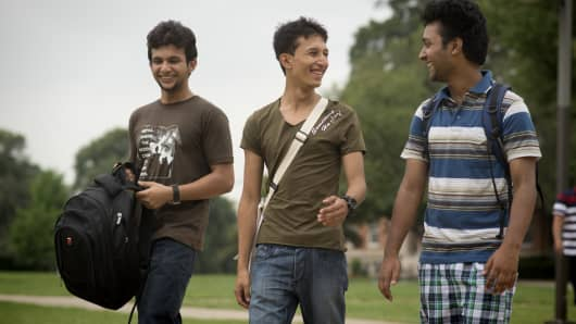 Nepalese college students hanging out on the The Main Quad on a Friday afternoon at Howard University in Washington, D.C.