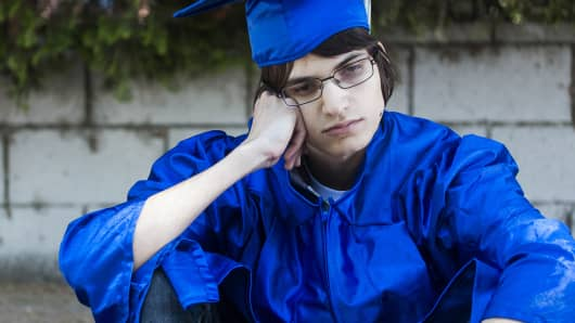 College graduate sad debt