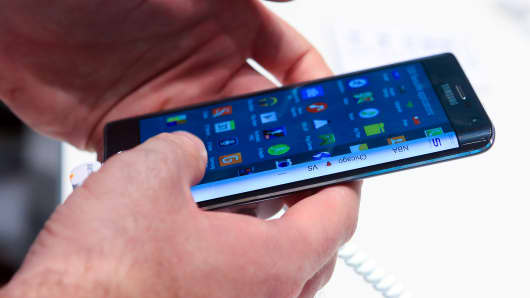 A file photo of a Samsung Galaxy Note Edge smartphone