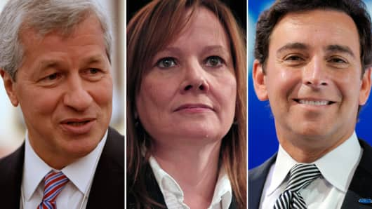 Jamie Dimon, CEO of JP Morgan Chase (L), Mary Barra, CEO of GM (C), and Mark Fields, CEO of Ford Motors (R).