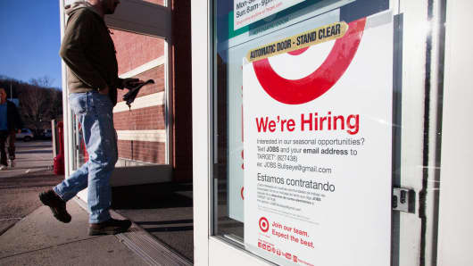 A sign advertising for temporary workers at a Target store in Mount Kisco, New York.