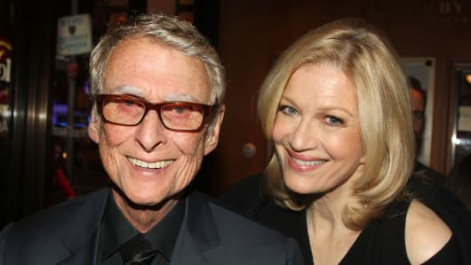 Mike Nichols and wife Diane Sawyer pose at The Opening Night of 'The Real Thing' on Broadway on October 30, 2014.