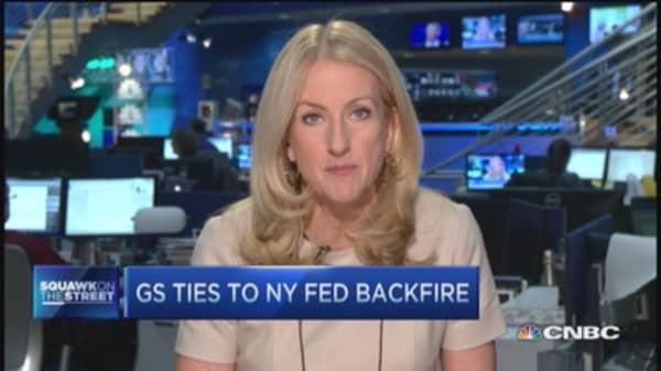 Goldman Sachs ties to NY Fed backfire