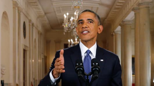 President Barack Obama announces executive actions on U.S. immigration policy during a nationally televised address from the White House, November 20, 2014 in Washington, DC. Obama outlined a plan on Thursday to ease the threat of deportation for about 4.7 million undocumented immigrants.