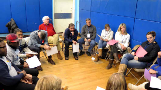 Breakout session. Each group heard from a couple residents and everyone discussed how they felt about the Sleep Out and the cause.