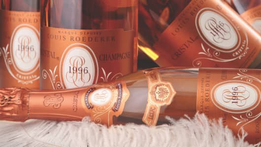 Bottles of 1996 Louis Roederer Cristal Rose sold at auction by Acker Merrall & Condit.
