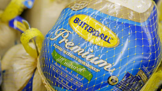 Butterball frozen turkeys are displayed for sale at a Walmart store in Los Angeles, Nov. 26, 2013.