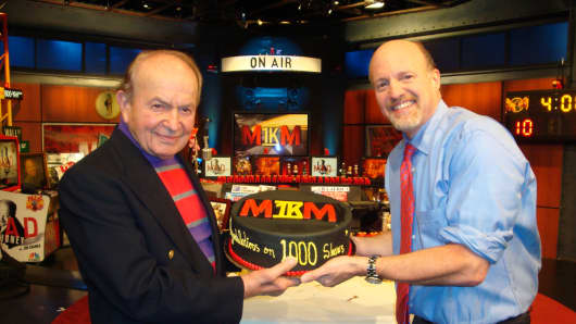 """Jim Cramer and his father, Ken Cramer, on the set of """"Mad Money"""" to celebrate the 1000th show, April 8, 2009."""