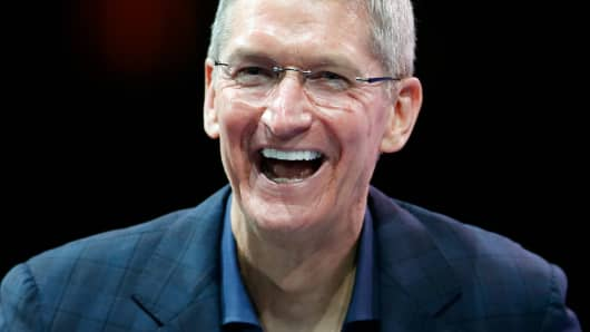 Apple CEO Tim Cook speaks in Laguna Beach, Calif.