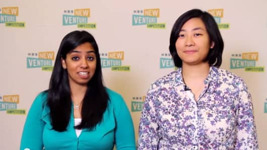 Amrita Saigal and Kristin Kagetsu, the co-founders of Saathi, won Harvard Business School's social enterprise New Venture Competition this year.