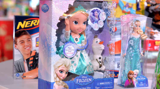 Disney Frozen Snow Glow Elsa and Disney Frozen Sparkle Doll are named one of the top 12 Dream Toys at the Dream Toys 2014 Launch on November 5, 2014 in London.