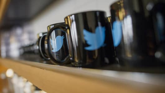 The Twitter logo on coffee mugs inside the company's headquarters in San Francisco.