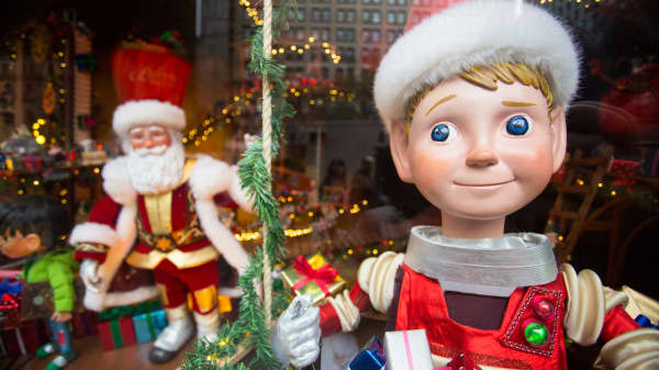 A holiday window display at Macy's flagship store in New York.