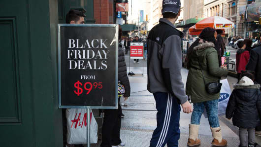 A Black Friday sign outside an H&M store in New York.