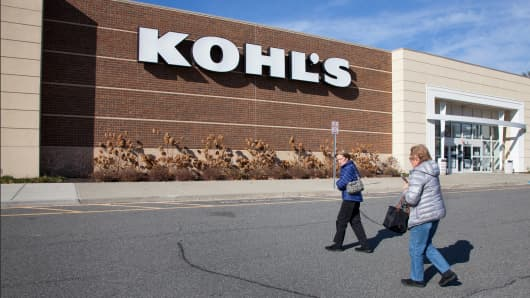 People approaching Kohl's department store in Mount Kisco, New York.