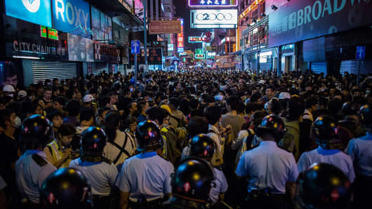 Pro-democracy protester gather in the Mong Kok district after clash with riot police on November 27