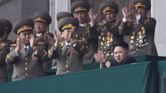 North Korean leader Kim Jong-Un and top military officials during a ceremony.