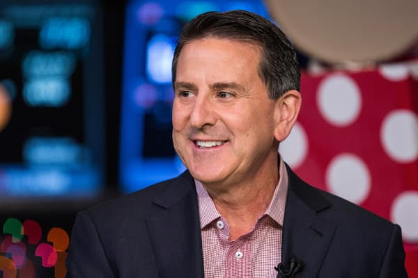 Target CEO Brian Cornell appears on CNBC after ringing the opening bell at the New York Stock Exchange on the morning of November 28, 2014 in New York City.
