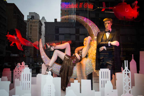 A holiday window display at Bloombingdales in New York.