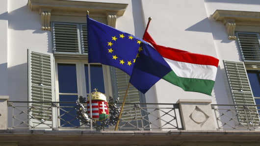 Hungarian and EU flags in Budapest