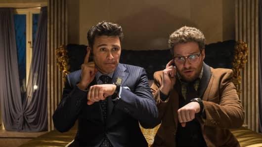 "This image released by Columbia Pictures shows James Franco, left, and Seth Rogen in ""The Interview."""
