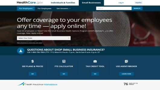 The portion of the healthcare.gov website for employers.