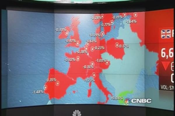 European shares close lower as commodities tumble
