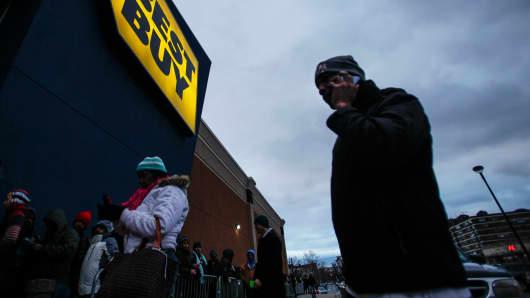 Shoppers outside Best Buy in Newport, New Jersey.