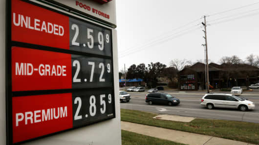 The lowest gas prices in years are seen on a fuel sign in Lawrence, Kan., Nov. 26, 2014.