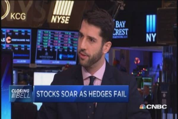 Stocks soar as hedges underperform
