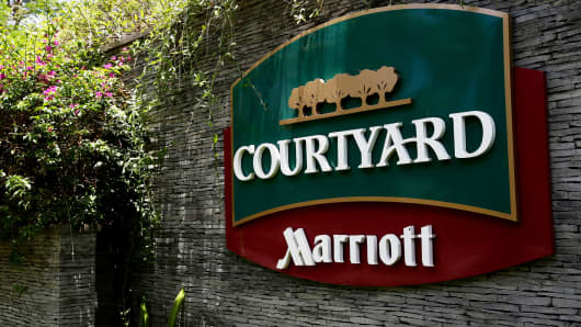Signage for the Courtyard Bali Nusa Dua hotel, operated by Marriott International, is displayed in Bali, Indonesia.