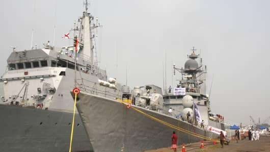 Indian warships INS Khukri and INS Sumitra at a 2014 demonstration