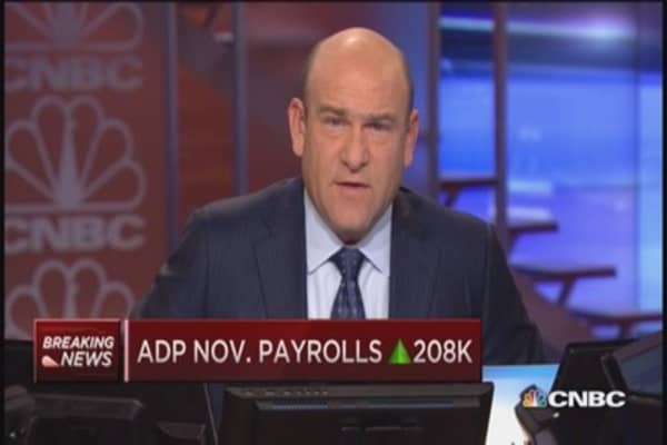 November ADP payrolls up 208,000