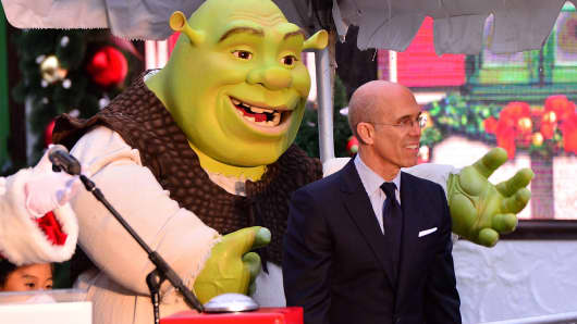 Shrek and Jeffrey Katzenberg attend a DreamWorks event