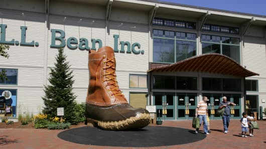 Giant boot in front of a L.L. Bean store in Freeport Maine.