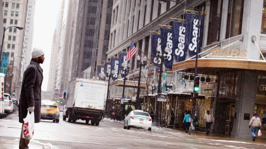 Banners hang from Sears' flagship store in the Loop on Jan. 22, 2014, in Chicago.