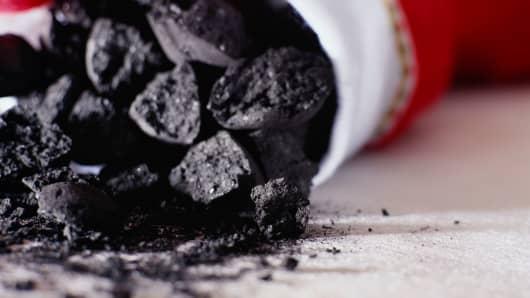 Stocking full of coal