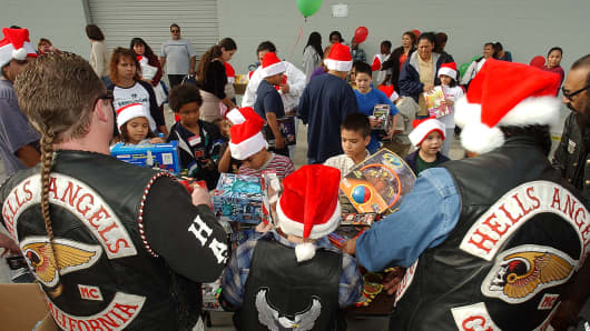 File photo of the annual Hells Angels toy drive in California.