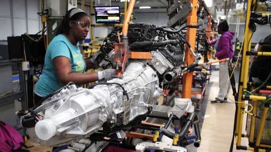 A transmission for a Chrysler Ram 1500 truck goes through the assembly line at the Warren Truck Assembly Plant in Warren, Michigan.