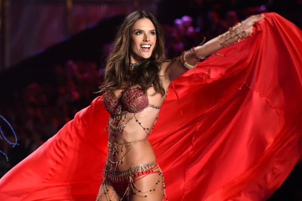 Alessandra Ambrosio walks the runway at the annual Victoria's Secret fashion show at Earls Court on Dec. 2, 2014, in London.