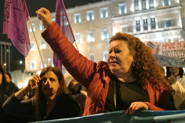 A demonstrator in front of the Greek parliament on December 7, 2014