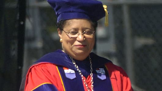 In this May 21, 2005 file photo, Rensselaer Polytechnic Institute President Shirley Ann Jackson is shown during commencement excercises in Troy, N.Y.