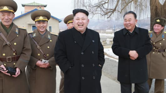 North Korean leader Kim Jong Un inspects KPA Air and Anti-Air Force Unit 458 in an undated photo released by North Korea's Korean Central News Agency in Pyongyang on Dec. 8, 2014.