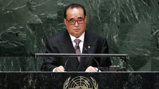 North Korea's Minister for Foreign Affairs Ri Su Yong addresses the 69th session of the United Nations General Assembly at the U.N. headquarters in New York, September 27, 2014.