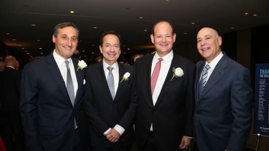 (left to right) Jacques (Jack) Brand, CEO, Deutsche Bank North America, and the Gustave L. Levy Award recipient; John Paulson, president, Paulson & Co. Inc.; Brett H. Barth, managing partner, BBR Partners, LLC, and the Alan C. Greenberg Young Leadership Award recipient; and Robert S. Kapito, president, BlackRock, and chair, UJA-Federation of New York's Wall Street & Financial Services Division.