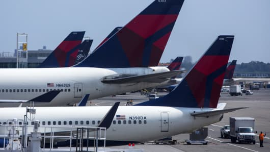 Delta Air Lines planes at John F. Kennedy Airport in New York.