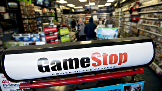 Signage stands in a GameStop Corp. store in Peru, Illinois.