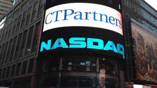 A NASDAQ sign welcoming CTPartners to the exchange in 2012.